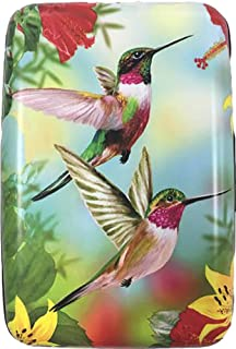 RFID Secure Armored Wallet - Wings, Hummingbird with Red and Yellow Flowers