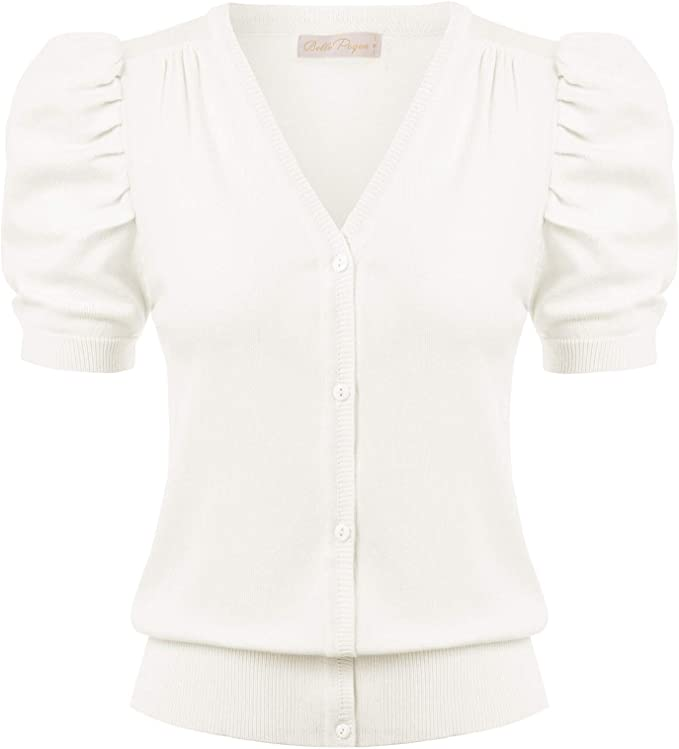 1930s Blouses, Tops, Shirt Styles | History Belle Poque Women Short Sleeve Knit Cardigans V Neck Button Down Sweaters $20.99 AT vintagedancer.com