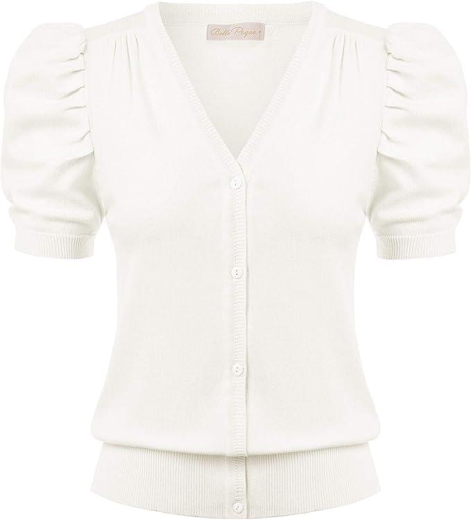 1930s Style Blouses, Shirts, Tops | Vintage Blouses Belle Poque Women Short Sleeve Knit Cardigans V Neck Button Down Sweaters $20.99 AT vintagedancer.com