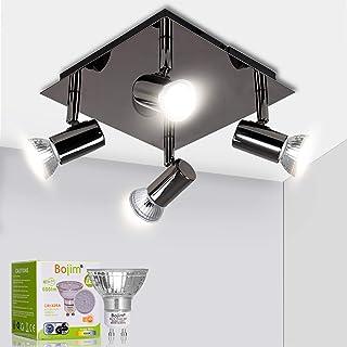 Bojim Luminaire Plafonnier LED 4 Spots Orientables Carré Moderne en Chrome Noir, 6W GU10 4500K Blanc Neutre AC220-240V IP2...