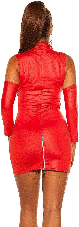 con cerniera a 2 vie Koucla 34//36//38 manicotti rimovibili colore: Nero//Rosso Miniabito da donna effetto bagnato