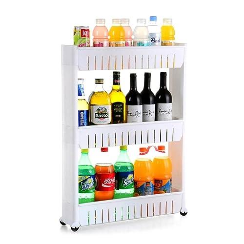 INOVERA (LABEL) 3 Tier Slim Side Plastic Kitchen Storage Rack with Wheels(White)