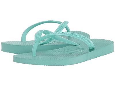 Havaianas Kids Slim Flip Flops (Toddler/Little Kid/Big Kid) (Green Dew) Girls Shoes