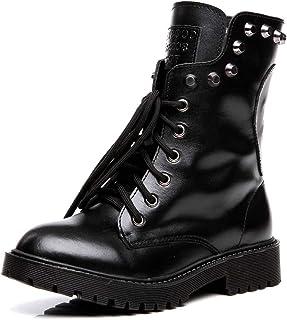 158dff8fcc3 Shenn Women s Round Toe Knee High Punk Military Combat Boots
