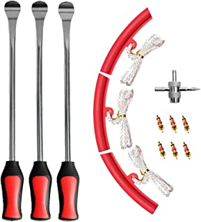 """ASOOLL 3Pcs 14.5"""" Tire Spoons Motorcycle Bicycle Tire Iron Levers Changing Tool with 3 PCS Red Rim Protectors and 4-Way Valve Tool with 6 Valve Cores"""