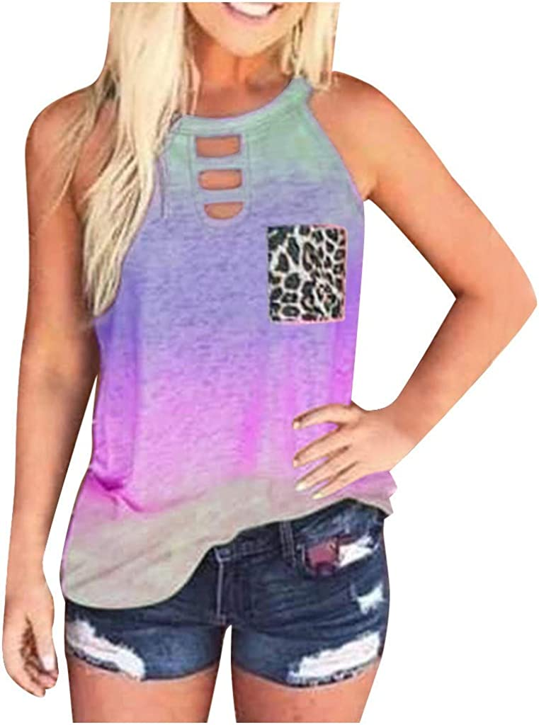 Gerichy Tank Tops for Women, Womens Summer Tops Tie-Dye Sleeveless Crewneck Blouses Casual Shirts Tank Tees Tunics Vest