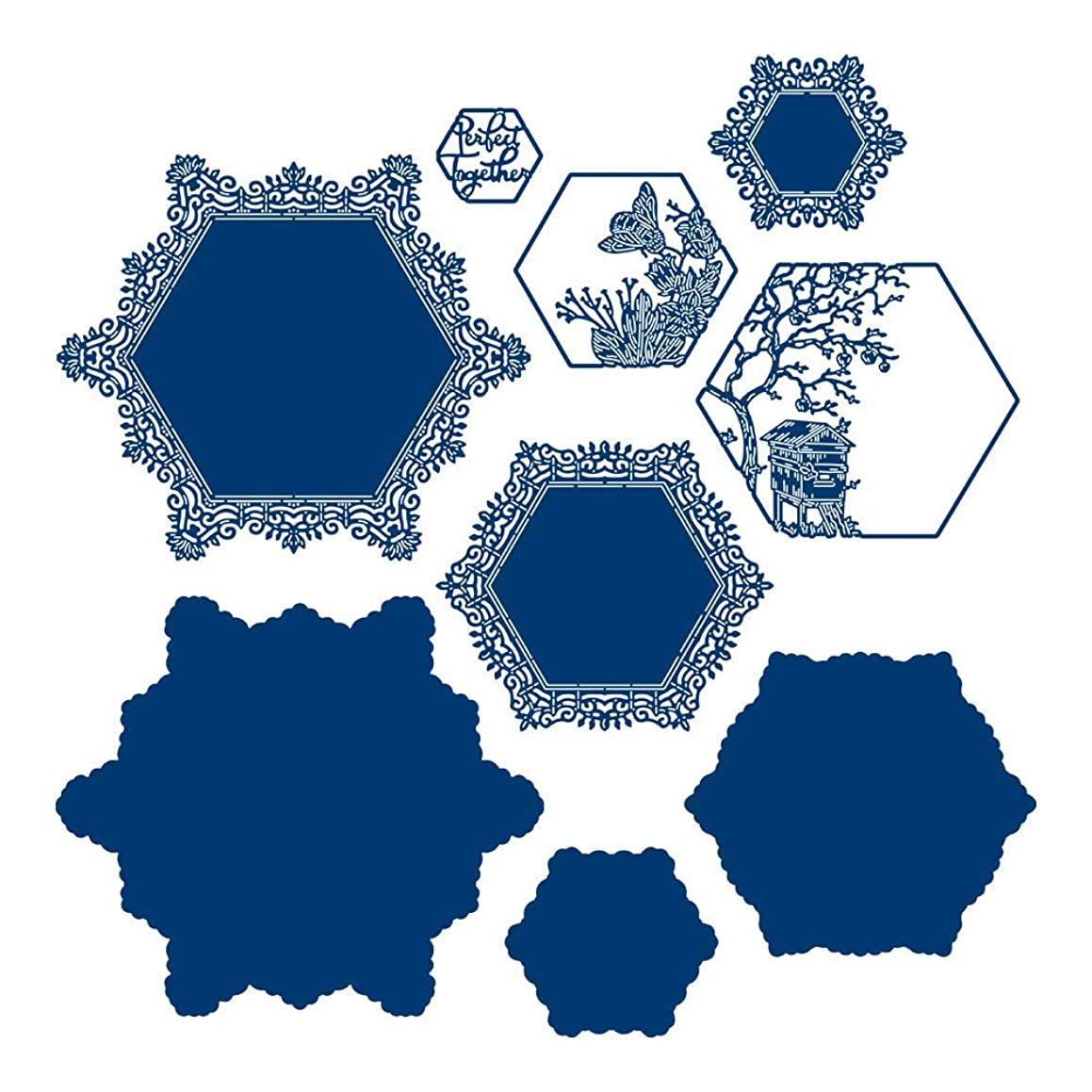 Tattered Lace Interlinked Illusions Hexagon Die Set