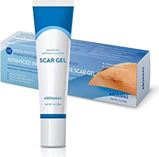 Aroamas Advanced Scar Gel Medical-Grade Silicone for Face, Body, Stretch Marks, C-Sections, Surgical, Burn, Acne, Old & New Scars, Clinically Proven, 30g
