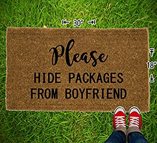 Please Hide Packages From Boyfriend Coir Doormat - 18x30 - Welcome Mat - House Warming - Mud Room - Gift - Custom