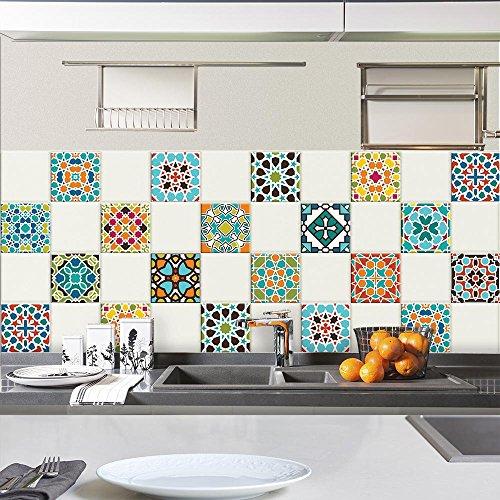 24 piezas Azulejo adhesivo 20x20 cm PS00102 Mosaico de Azulejos Adhesivo de pared Adhesivo decorativo para azulejos de cemento para baño y cocina Adhesivos de cemento pelar y pegar