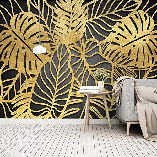 ZJfong 3D-fotobehang met gouden bladeren, muurschildering, creatief behang voor muren, woonkamer, slaapkamer, decoratie voor thuis 300x200cm