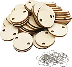 FamGift Heart Unfinished Wood Discs with 2 Holes 50 Pieces Pack & 50 Pieces,DIY Crafts &Game Doodle Ornament (Round+Ring/Wood Color)
