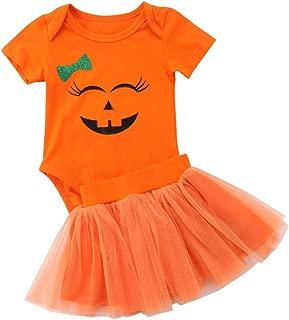 Toddler Baby Girl Halloween Princess Dress Pumpkin Smiles Bodysuit Polka Dots Tulle Skirt Bowknot Party Dresses