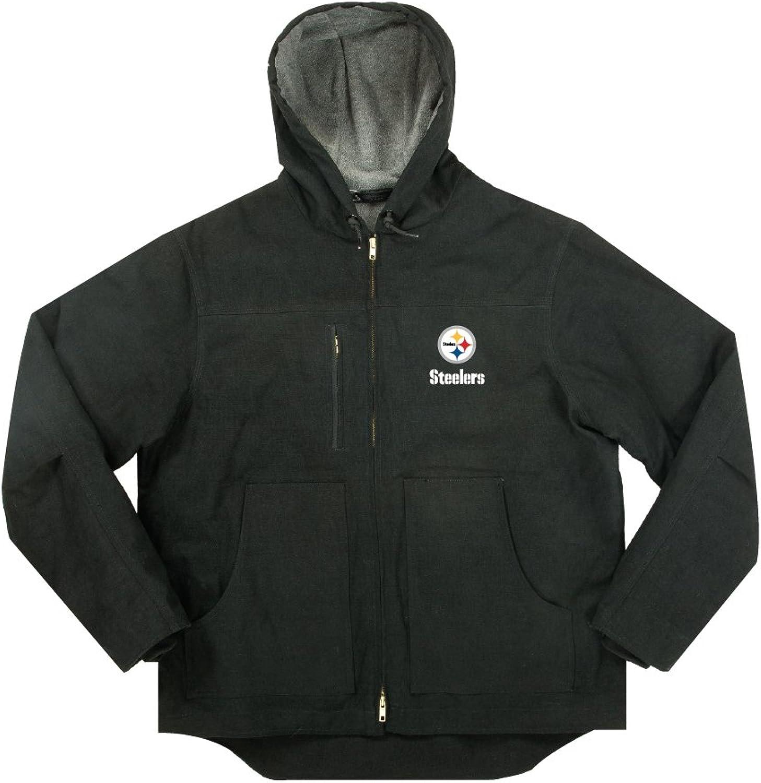 NFL Pittsburgh Steelers Boys Trailblazer Canvas Fleeced Lined Hooded Jacket, 5X, Black
