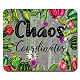 Cactus Chaos Coordinator Funny Quote Mouse Pad Green Succulent Watercolor Mousepad Office Desk Accessories Decor Supplies
