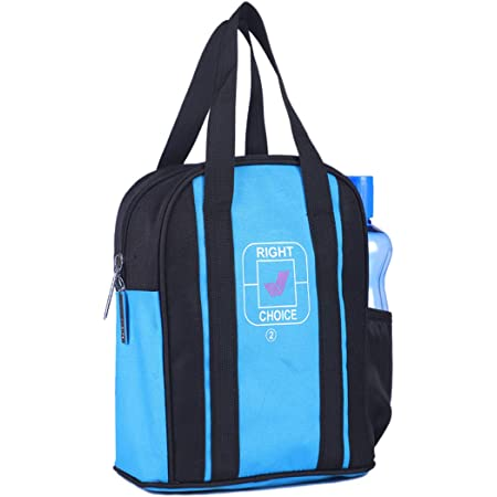 Right Choice Daily use Multipurpose lunchbag School Office Tiffin Bag for All Men Women Boys & Girls Stylish Handbag Black Sky Blue (3004)
