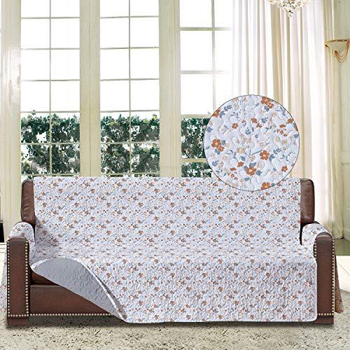 softan Sofa-Schonbezug mit Elastiken und Bändern für 3 Sitzer, Sofa Überwürfe mit Aufbewahrungstaschen,Schutz vor Haustieren, Schmutz, und Verschleiß (Dreiersitzer, Blume/Grau)
