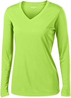 Ladies Long Sleeve V Neck Moisture Wicking Athletic Shirt