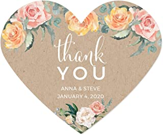 Andaz Press Peach Coral Kraft Brown Rustic Floral Garden Party Wedding Collection, Personalized Heart Label Stickers, Thank You Anna & Steve January 4, 2020, 75-Pack, Custom Names and Date