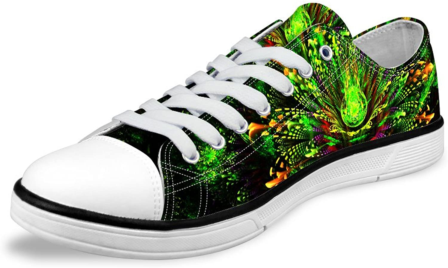 FOR U DESIGNS Glitter Green Lightweight Comfort Women's Flat Canvas shoes Lace Up US 8