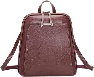 Wujianzzhobb حقيبة الظهر النسائية حقيبة الكتف للسيدات ، حقيبة سفر جلدية ، متعددة الوظائف خمر النساء حقائب الظهر (اللون: بني)
