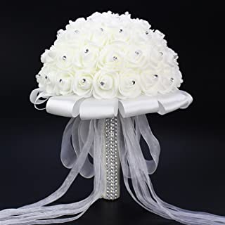 FIDDY898 Romantic Wedding Bride Holding Bouquet Roses with Crystal Diamond Ribbon Artificial Foam Flower Bouquet (White)