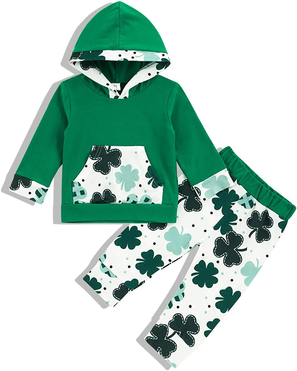 Baby Boy Girl St. Patrick's Day Clothes Four Leaf Clover Print Hoodie Sweatshirt and Pant St. Patrick's Day Outfits