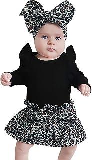 WFRAU Baby Strampler Mädchen 3 Stück Einfarbig/Drucken Lange Ärmel Overalls TopsLeopardenmuster RockHaarband,Schlafanzug Säugling Spielanzug Baby-Nachtwäsche Hosen Tops Jumpsuit Outfit Bodysuit