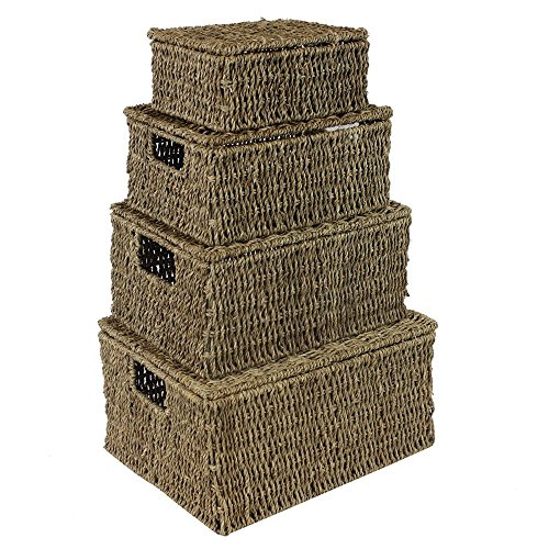 Natural Seagrass Oblong Storage Baskets Boxes Hampers with Lids Set of 4 HE39