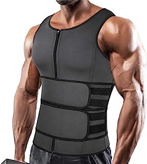 SHAPERIN Men Neoprene Sauna Zipper Waist Trainer Vest Tank Top Trimmer Body Shaper with Two Belt