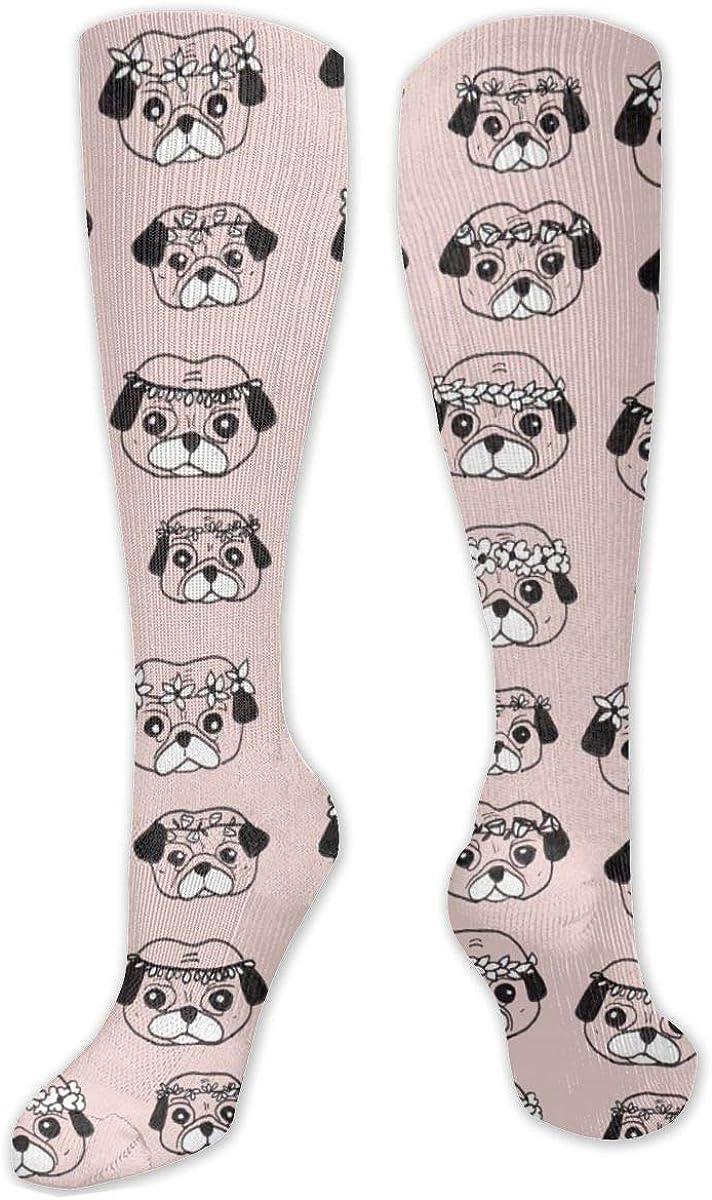 Pugs Pattern Knee High Socks Leg Warmer Dresses Long Boot Stockings For Womens Cosplay Daily Wear