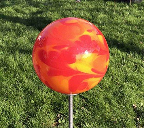 MP Glaszauber Rosenkugel auf Stab Glas Gartenstecker handgefertigte Glaskunst Gartenkugel
