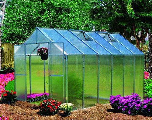 Monticello Greenhouse Premium Package, 8' x 12', Aluminum Finish