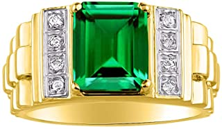 RYLOS Mens Ring with Emerald Cut Shape Gemstone & Genuine Sparkling Diamonds in 14K Yellow Gold Plated Silver .925-10X8MM Color Stone- Designer Style