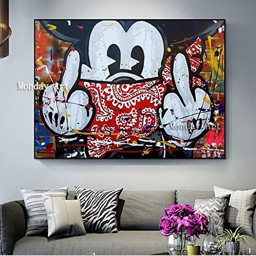 wtnhz Sin Marco Whosale Dibujos Animados aritista Pintura al óleo sobre Lienzo Monopolio Ratón Pintura al óleo Obras de Arte para la habitación del niño