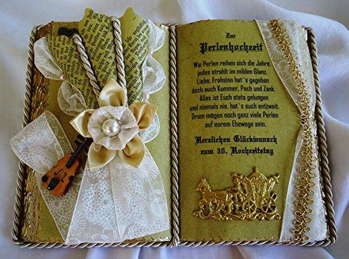 Perlenhochzeit, 30-jähriges Ehejubiläum - Dekobuch mit Holzbuchständer,
