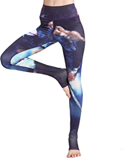 Whitewed Vintage Lotus Blossom Patterned Print Stretch Yoga Leggings for Women