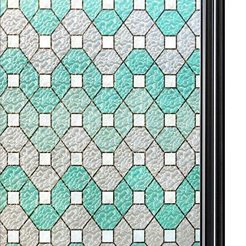 Qualsen Fensterfolie Sichtschutzfolie Privatsphäre Fensteraufkleber Selbstklebend Dekorfolie Anti-UV Folie TM95Y011 (60cm x 300cm)