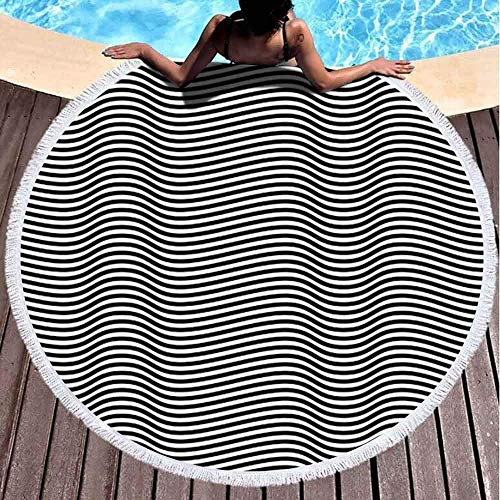 Toallas de playa redondas para niños, línea blanca negra de 152 x 152 cm, toalla de playa grande redonda para niños, mujeres y niños