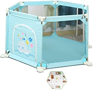 Baby Fence  Children s Amusement Park Indoor Home Game Fence Baby Guardrail Child Drop-Proof Isolation Fence  Without Ball   Color Blue
