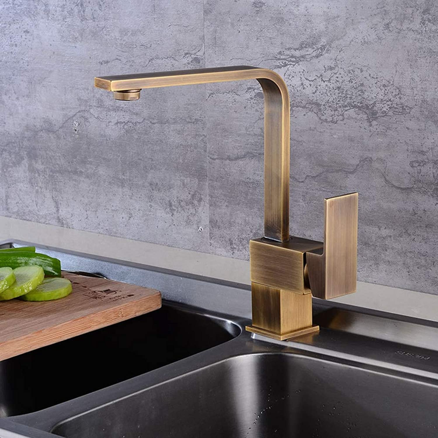 FZHLR Kitchen Sink Faucets Antique Finish Brass Crane Kitchen Faucets Hot Cold Water Mixer Tap Single Hole Mixer Taps torneira
