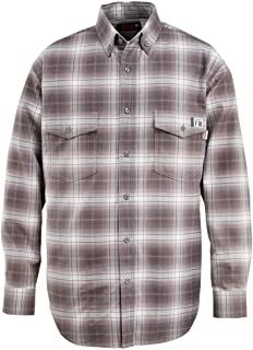 WOLVERINE Men's Long  Flame Resistant Plaid Twill Shirt