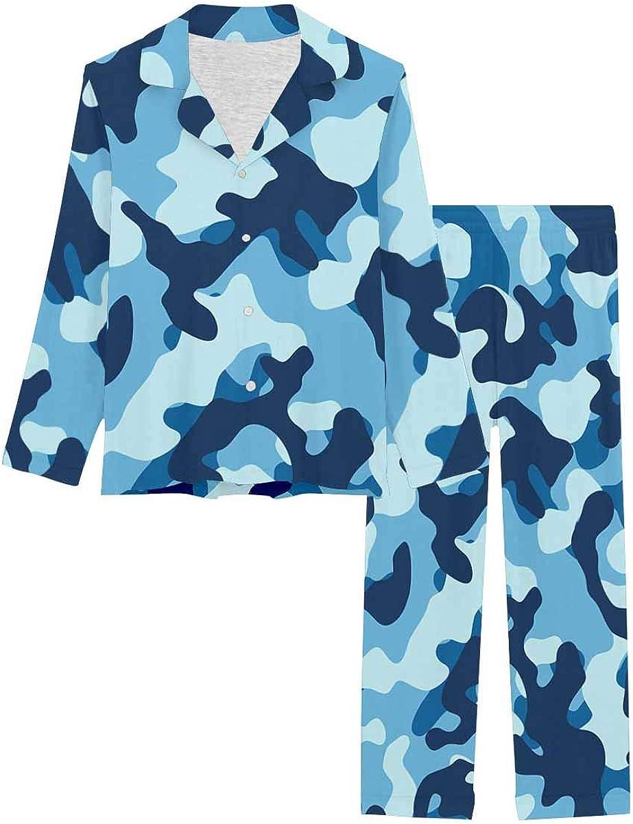 InterestPrint Women's Nightwear Notch Collar Loungewear with Long Pants Sea Water Camouflage