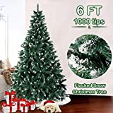 AerWo 6FT Flocked Snow Christmas Tree, Artificial Christmas Pine Trees with Metal Stand for Festive Holiday Decor (1000 Tips)