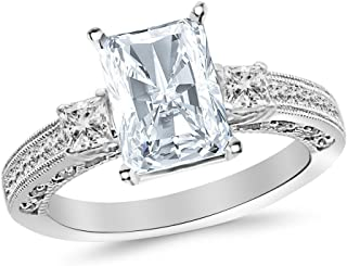 3.5 Ctw 14K White Gold Three 3 Stone Princess Cut Channel Set Radiant Cut GIA Certified Diamond Engagement Ring (3 Ct K Color SI2 Clarity Center Stone)