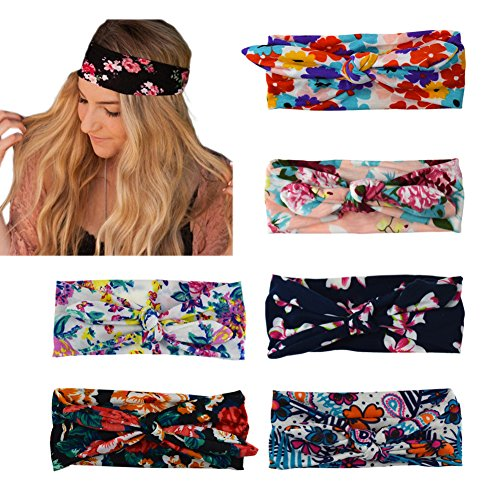 DRESHOW Boho Bow Headbands for Women Vintage Flower Printed Yoga Hairband Elastic Rabbit ear Head Wrap 6 Pack