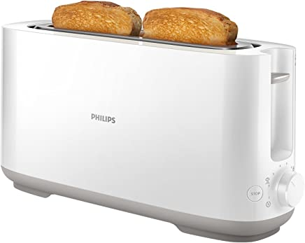 Philips Daily HD2590/00 -Tostador 950 W, Ranura Larga, 8 Funciones, Color Blanco