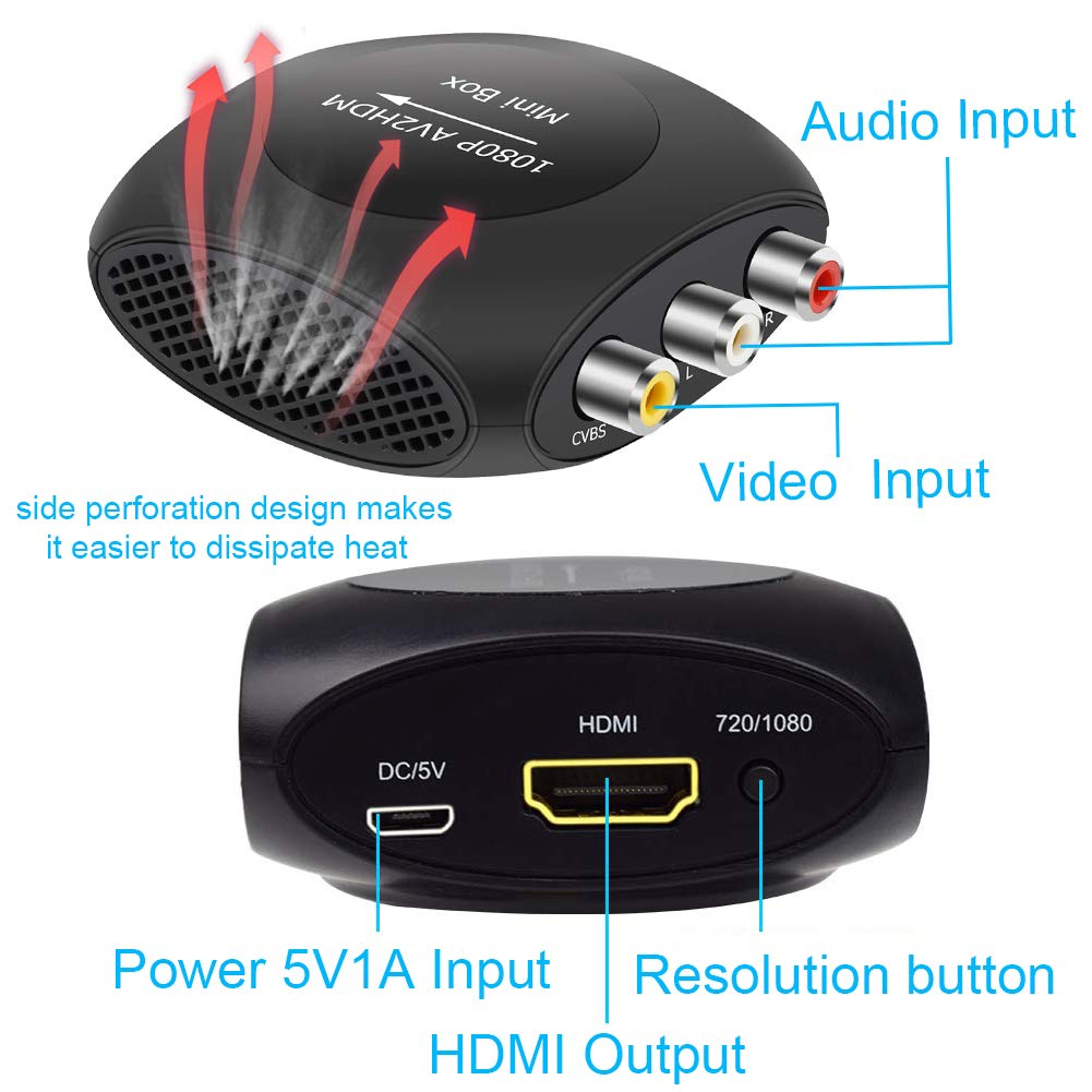 AMANKA Mini AV a HDMI Convertidor, RCA a HDMI Adaptador Compuesto CVBS Transformar Señal Audio y Vídeo Soporte 1080P con HDMI Cable para PC/Laptop/Xbox / PS4 / PS3 /TV/STB/VHS/VCR Cámara DVD: Amazon.es: