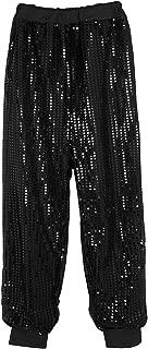 Agoky Women's Glitter Sequins Long Harem Hip Hop Dance Pants Hippie Boho Trousers Dancewear