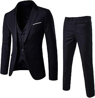 Cloudstyle Mens 3-Piece Suit Notched Lapel One Button Slim Fit Formal Jacket Vest Pants Set